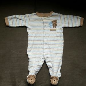 Carter's White/Brown 3months Teddy bear Pajama